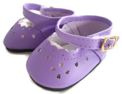 Lavender Mary Jane Shoes Heart Cutouts made for Bitty Baby Doll Clothes