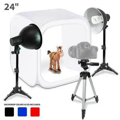 "Lusana Studio 24"" Photo Studio Table Top Photo Box Photography Light Stand Kit"