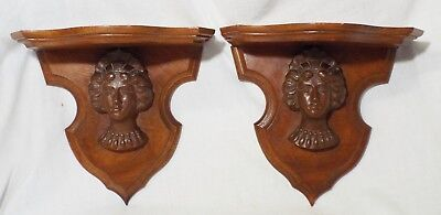 Pair of Old Antique WALNUT Carved LADY'S BUST HEAD Matching WALL SHELVES