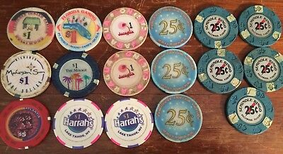 Lot Of 17 Casino Chips Various Locations And Denominations