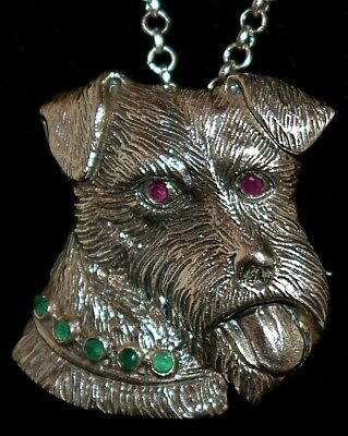 WOW! Vintage STERLING ~FOX TERRIER~ Genuine RUBY Eyes & EMERALD Collar NECKLACE