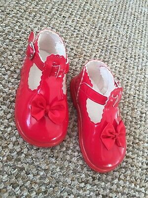 Baby Pod Shoes Red Shiny Girl 4/20 Bow Summer Spanish