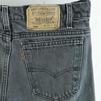 625fc1ffbc6 Mens Levis 550 Black Jeans Relaxed Fit Straight 34x34 Actual 32x33 Made in  USA
