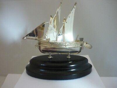 Stunning Vintage Sterling Silver Sailing Boat Ship Statue in original box