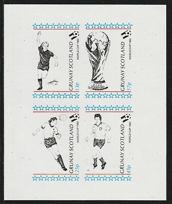 GB Locals GRUNAY  7492 - 1982 FOOTBALL WORLD CUP imperf sheetlet of 4 u/mint