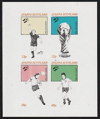 GB Locals STAFFA  7493 - 1982 FOOTBALL WORLD CUP imperf sheetlet of 4 u/mint