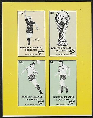 GB Locals BERNERA  7497 - 1982 FOOTBALL WORLD CUP imperf sheetlet of 4 u/mint
