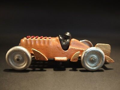 "Antique Vintage Style Cast Iron Toy Race Car w Moving Pistons ""Hubley"""