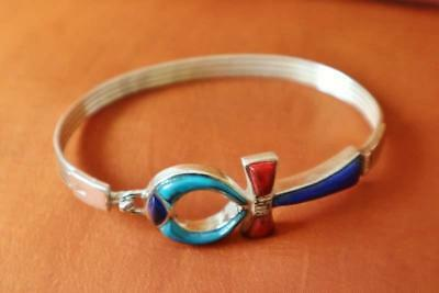 Amazing Vintage Egyptian Solid Sterling Silver Bracelet Cross ANKH_Bangle/Cuff