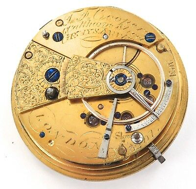 ".c1840 DIAMOND END STONE FUSEE ""T F COOPER, LONDON"" POCKET WATCH MOVEMENT & DIAL"