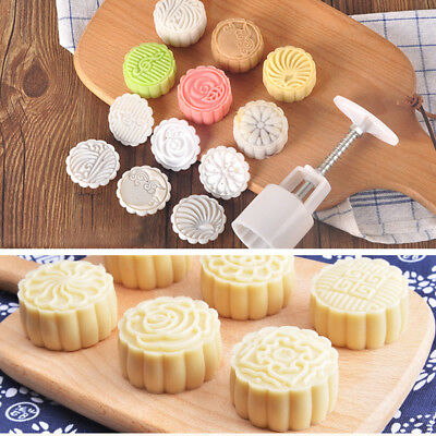 Moon Cake Mould Mold Hand Pressure Flower Decor Motif Pastry 50g Round+6 Stamps