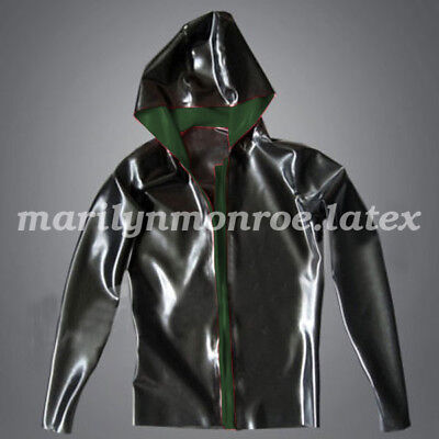 Pure Nature Latex Rubber Handsome Loose Hoodie Jacket Sport Shirt Size XXS-XXL