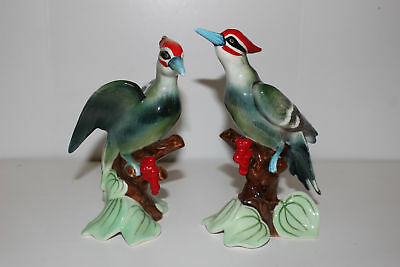 Vintage Pair Napco Hand Painted Porcelain Woodpecker Bird Figurines-S 783