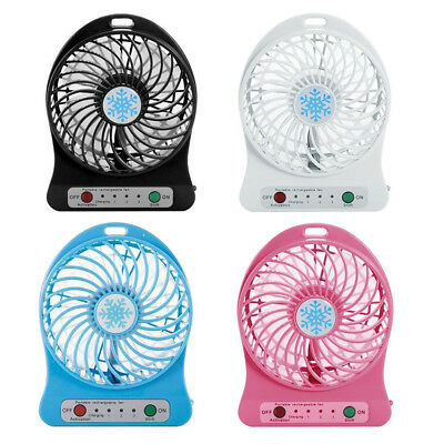 Portable Mini USB Charge Rechargeable Battery 3 Gear Speed Fan 4.5W LED Lamp