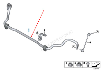 BMW X5 F15 Front Sway Bar Stabilizer 31356854141 6854141 2015 New Genuine