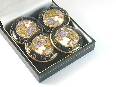 Antique Satsuma Buttons set of 4 decorated heavily with gold also signed