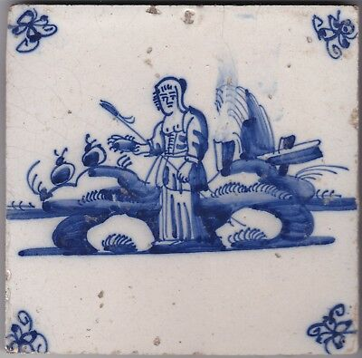 Delft Tile c.  18th - 19th  century   ( T 44)   Shepherdess with staff