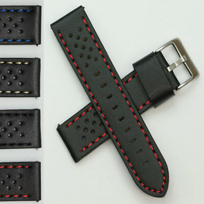 TOUGH Genuine leather rally watch strap band red blue racing grand prix 20-24mm