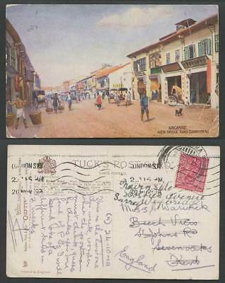 Singapore India KG5 1a 1919 Old Tuck's Oilett Postcard New Bridge Road Chinatown