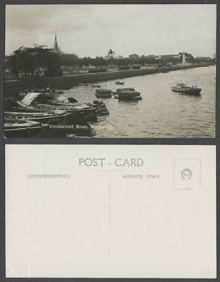 Singapore Old Real Photo Postcard Connaught Road Sampans Boats Harbour SA Church