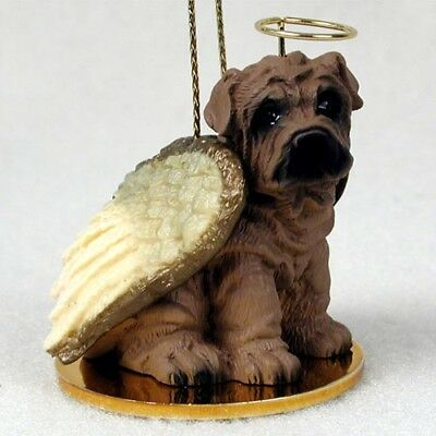 SHAR PEI dog ANGEL Ornament Figurine resin Christmas BROWN puppy COLLECTIBLE New