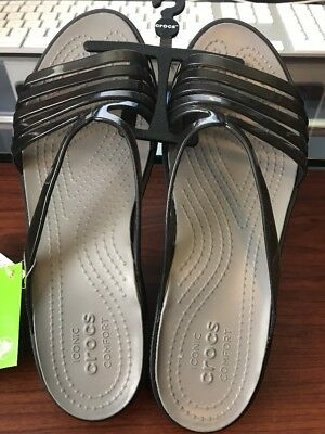 8f9ea8cc7a2437 Crocs Women s Isabella Mini W Wedge Sandal - Black Smoke - Choose SIZE
