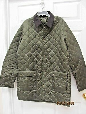 NWT Barbour Thurland Quilted Long Jacket Mens XL Lightweight Olive w Tartan Trim