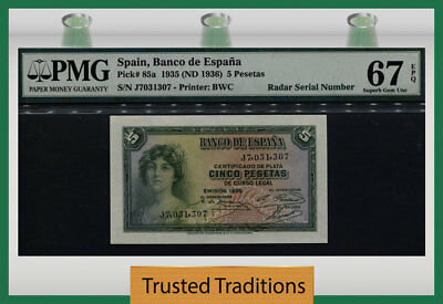 TT PK 85a 1935 SPAIN 5 PESETAS PMG 67 EPQ SUPERB GEM UNC. ONLY ONE FINER BY PMG