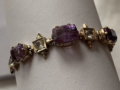 Antique 9Ct Gold Amethyst White Sapphire Ladies Bracelet