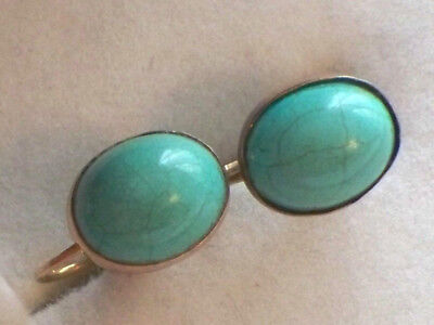 Pair Of Antique 9ct Gold Turquoise Earrings