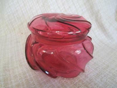 C1 Fenton Ruby Overlay WAVECREST Covered Candy Jar Box