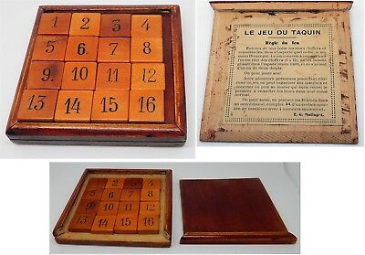 Antique French Le Jeu Du Taquin 15 Number Puzzle Tray / Mystic Square / Gem