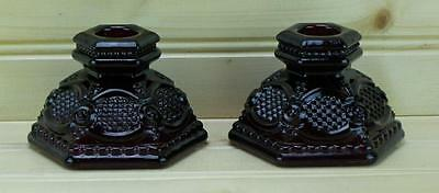 Avon 1876 Cape Cod Collection (2) Single Light Candlestick Holders - Ruby Red