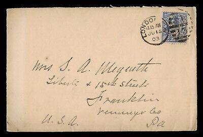 1903 Great Britain Carlton Hotel Perfin On Cover To Usa