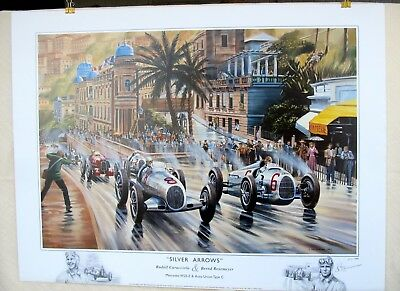 """Silver Arrows"" Caracciola Rosemeyer Mercedes Auto Union Monaco 1936 Ltd EdPrint"