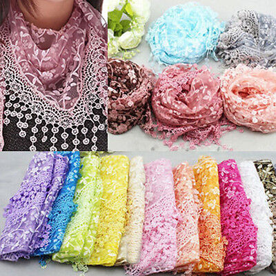 Women Lady Lace Tassel Rose Floral Triangle Hollow Scarf Shawl Wrap Access Gift