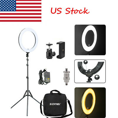 "US 18"" 50W LED Ring Light 5500K Dimmable Universal Adapter Continuous Lighting"