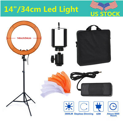 "US 14"" Selfie LED Ring Light W Stand Photo Photography For Phone Camera Vlog"