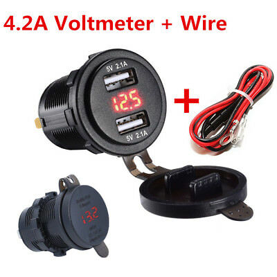 Red LED Car Dual USB Charger Socket Power Outlet With Voltmeter & Wire 10A Fuse