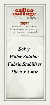 Solvy Water Soluble Fabric Stabiliser Embroidery Sewing Crafts 50cm x 1mtr