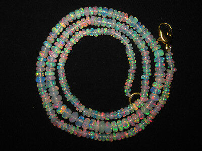 """17"""" Natural Beautiful Welo Ethiopian Opal Rondelle Beads Necklace Gift CJ07"""