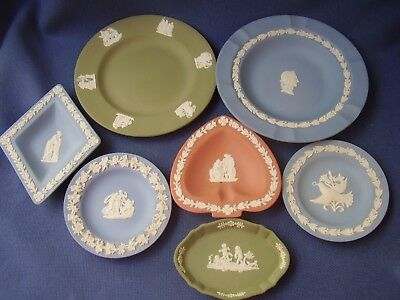 Wedgwood Job Lot - 7 Assorted Jasper Ware Small Dishes & Plates- Excellent Cond.