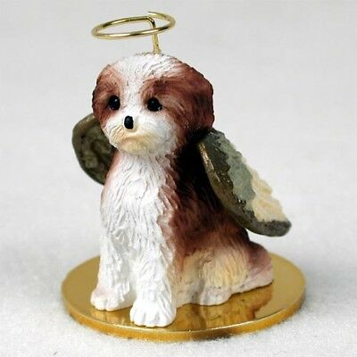 SHIH TZU Puppy Dog ANGEL Ornament HAND PAINTED Resin Figurine TAN BROWN WHITE