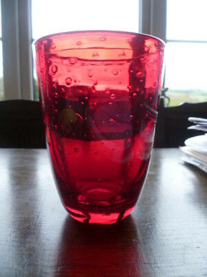 Odd Vintage Whitefriars Ruby FLC Vase with Semi 5 Lobed base Controlled Bubbles