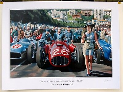 The day that Ascari dived in the port Monaco 1955 Lancia Grace Kelly LE Print