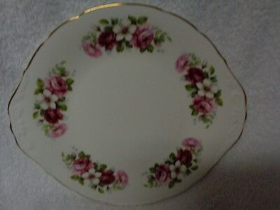 Queen Anne Round Handled Roses Stencil Cake Plate
