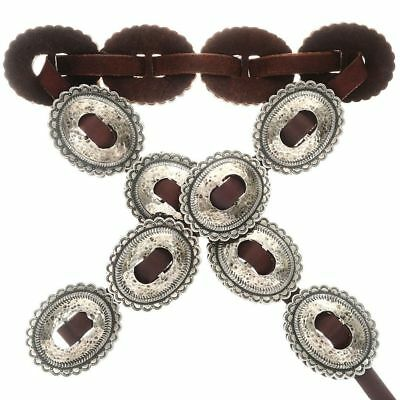 Navajo Hand Hammer Distressed Silver Concho Belt 1st Phase Style First Phase