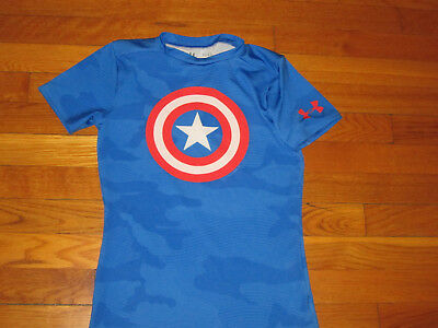 Under Armour Heatgear Captain America Short Sleeve Fitted Jersey Boys Large Exc
