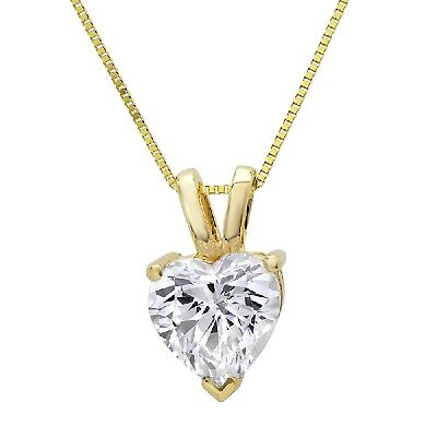 """2.0 ct Heart Cut 14k Yellow Gold Solitaire Pendant Necklace 16"""" Gold Chain"""