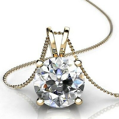 """2.0 ct Round Cut 14k Yellow Gold Solitaire Pendant Necklace 16"""" Gold Chain"""